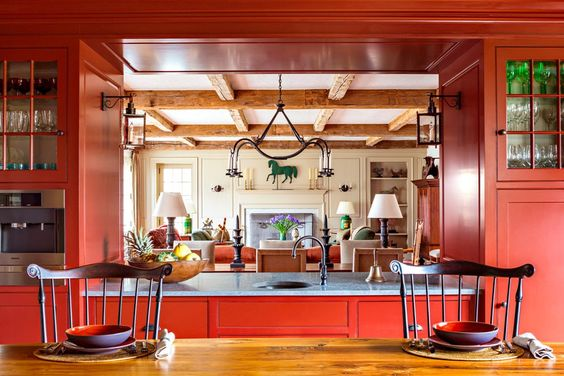 Küchendesign Retro Stil komplett in Rot