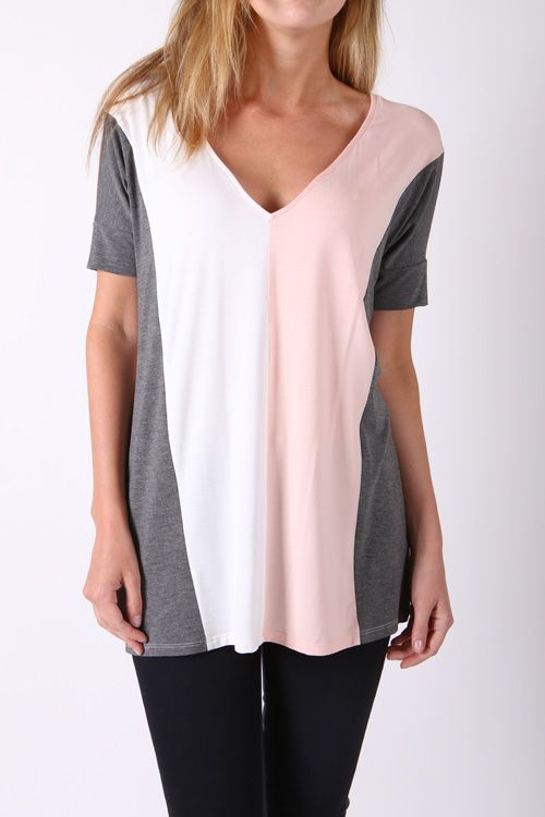uper SOFT & COMFY tee! The color block gives the illusion of a narrow waistline!! The soft pallet of ivory, pink and grey make a great combo!!! Sz: S-L $39