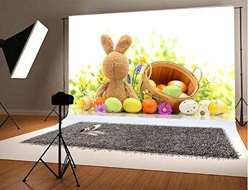 7x5 ft Easter Photo Backgrounds Rabbit Egg Wrinkle free P
