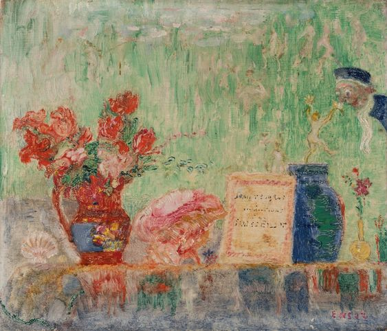 James Ensor 1860 1949 Nature Morte Au Livre De Jean Teugels