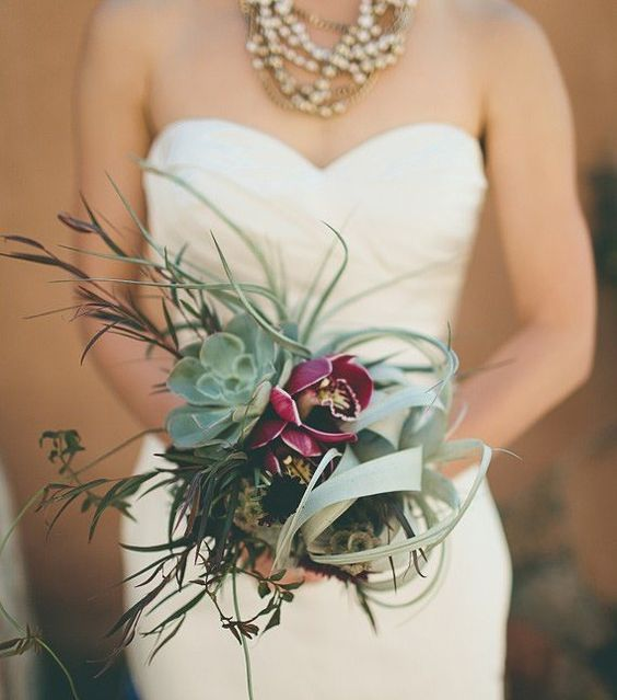 "K'Mich Weddings Philadelphia PA (@kmichweddings) on Instagram: ""#Succulents- Marsala Colored Orchids, Dark Burgundy Scabiosa, Scabiosa Pods, Green Air Plant, Green-wedding ideas - wedding inspiration"