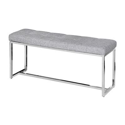 Worldwide Home Furnishings 401-423 !nspire Tufted Fabric Chrome Bench Dimensions & Weights  Width:	3 feet 3 inches Height:	18 inches BackToFront:	11¾ inches $114