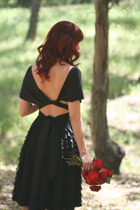 Romantic Black Ruffle Octopus Convertible Wrap Dress; Bridesmaids