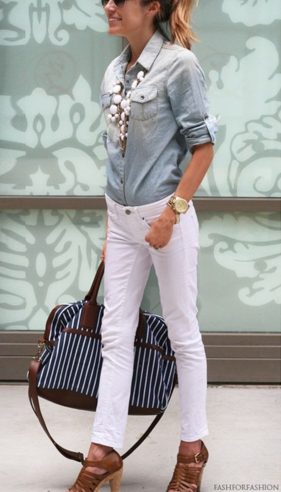 How to style & wear White Jeans ((love the white w/ chambray & white bubble necklace!)):