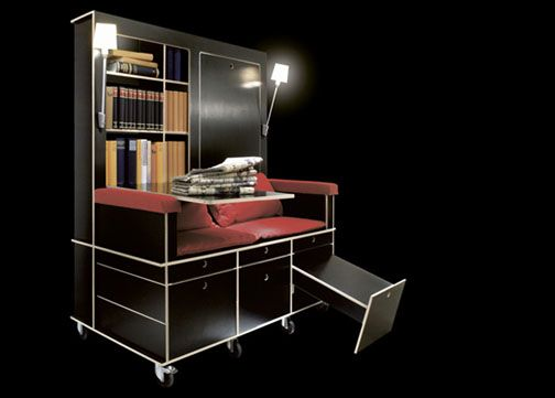 If you've got a bunk house-style RV, and you don't have little ones needing the space, make it a home office. Use this Portable Living Room: Study, Sofa & Storage on Wheels.