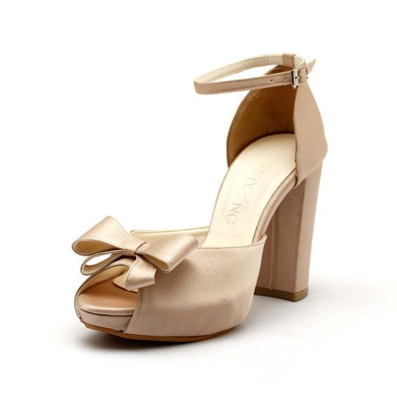 Nude Satin Thick Heel Bridal Shoes Nude Wedding by ChristyNgShoes ...