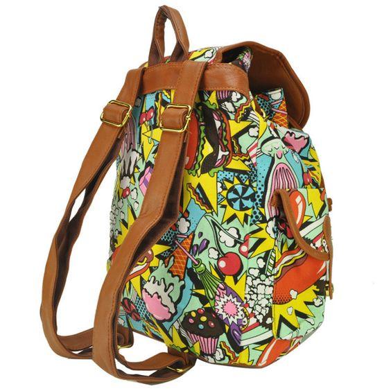 Multiple Color Comic Print Backpack Shoulder Bag Rucksack