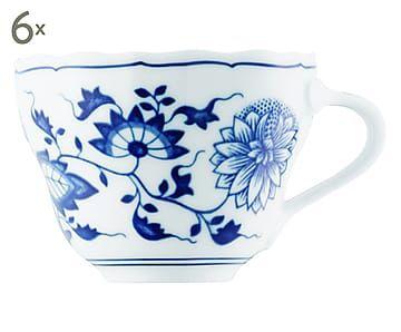 Kaffeetassen Blau Zwiebelmuster, 6 Stück, 210 ml