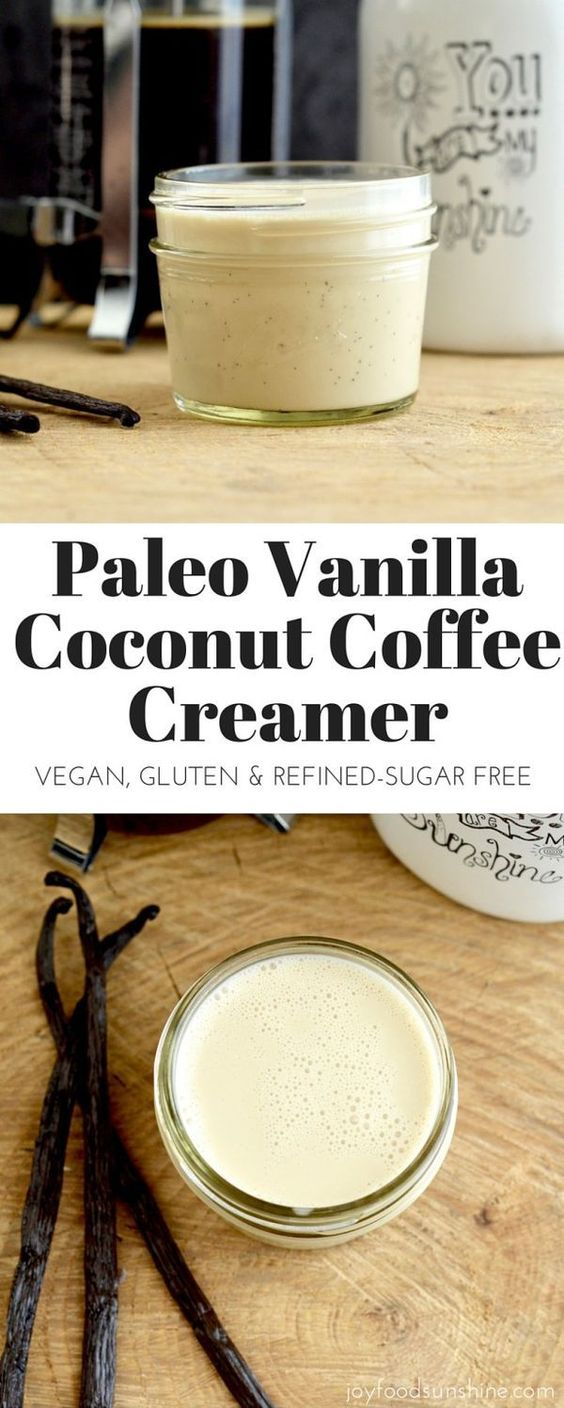 Paleo Vanilla Coconut Coffee Creamer! Only 4 ingredients, this recipe is EASY, and way healthier than store-bought versions! Dairy-free, refined-sugar free, paleo, and vegan! http://joyfoodsunshine.com/paleo-vanilla-coconut-coffee-creamer/
