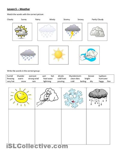weather worksheet free esl printable worksheets made by teachers sciences pinterest. Black Bedroom Furniture Sets. Home Design Ideas