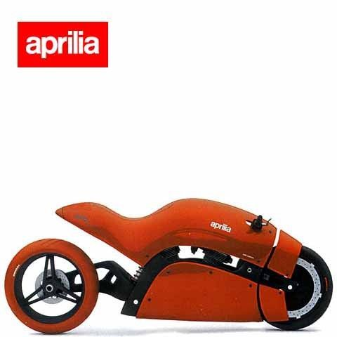 Aprilia concept bike. Throw a green LED light ring on the front wheel and you almost got Kaneda's bike from Akira.