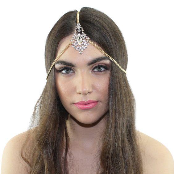 Gold crystal cluster Grecian Chain Headpiece Headband by ShopKP, $34.00