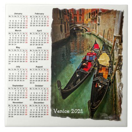 Venice Italy 2021 Calendar Tile Zazzle Com In 2020 2021 Calendar Calendar Elephant Gifts