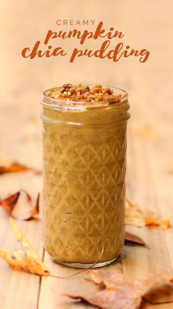 *Creamy Pumpkin Spice Chia Pudding- 1 1/2 c almond milk, 1/4c chia seeds, 1/3c pumpkin, 6 dates, 1/2 tsp pumpkin spice