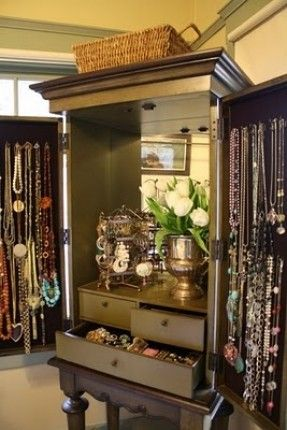 Large jewelry armoire! Just turn your reg armoire into jewely storage. Make drawers all the way to the top! Wow.