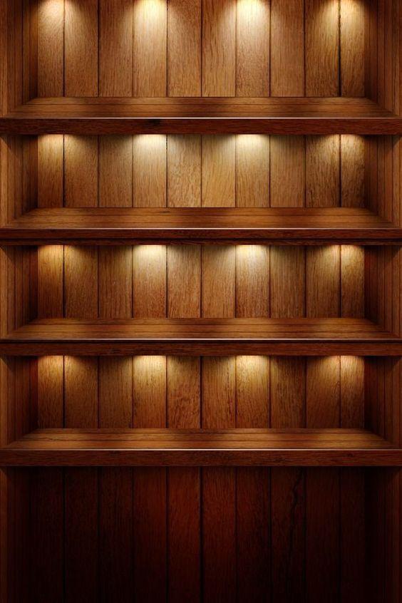 ライトのついた棚がおしゃれでかっこいいスマホ壁紙