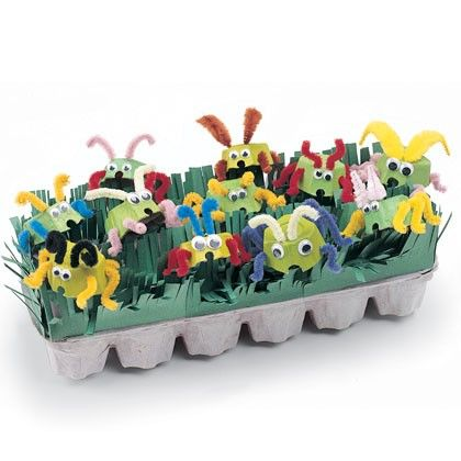 kids craft: egg carton critters...((Love bugs, using red, white, pink paint..and pipe cleaners .googly eyes etc..
