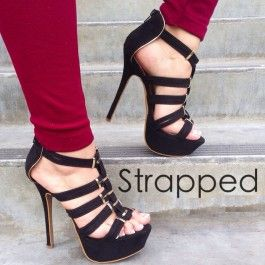 Black Strappy Platform Heels Faux Suede $35.99 | Stuff to Buy ...