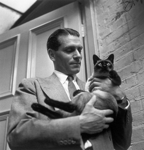 Laurence Olivier with his Siamese.