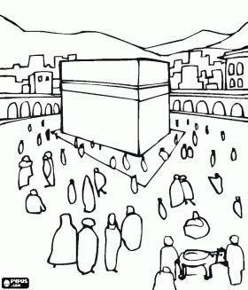 Muslim Pilgrims Walking Around The Kaaba A Cube Shaped Building In Makkah Saudi Arabia Coloring Page Ramadan Kids Islamic Kids Activities Coloring Pages