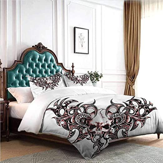 Dsdsgog Simple And Comfortable Tattoo Goat Skull Shaped Swirls 90x90 Inch Twin Full King Bed King Beds Best Platform Beds Best Storage Beds