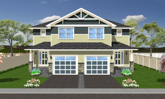 Craftsman Style Duplex House Plan Multi Family