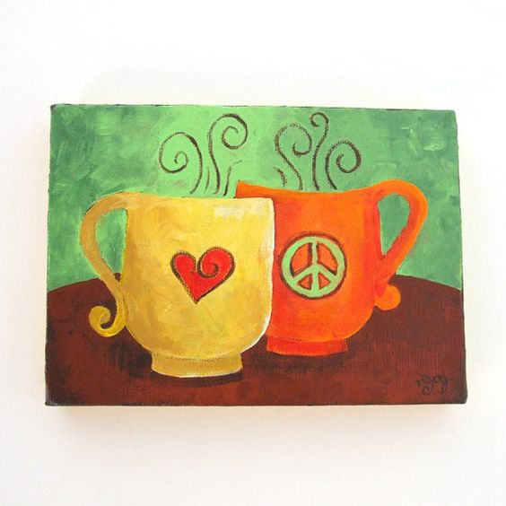 Original Painting COFFEE MATES Peace & Love 7x5 Acrylic by nJoyArt, $35.00
