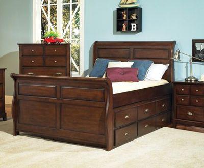 Con su elegante estilo tipo trineo la cama individual o for Camas matrimoniales