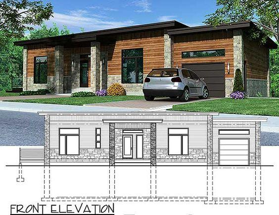 Plano de espectacular casa moderna construida en terreno desnivelado