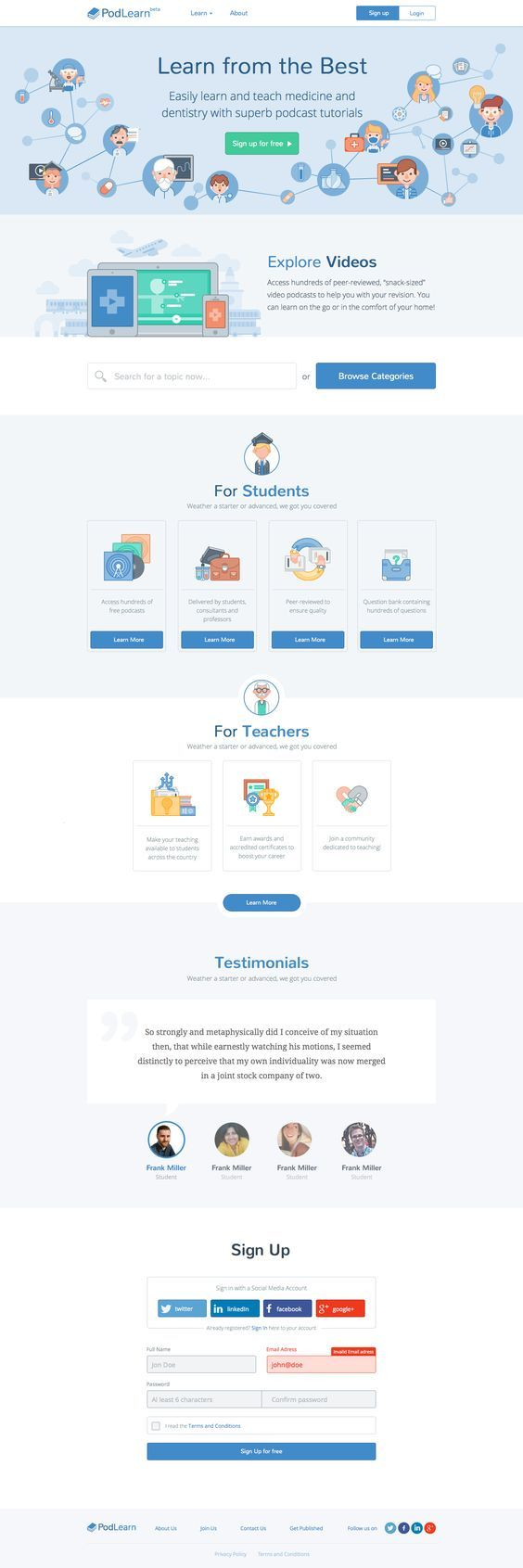 """Podlearn-landing-page-realpixels - Podlearn is an e-learning platform designed for medical students by medical students. Our aim is to create an easy-to-use learning resource filled with """"snack-sized"""" content to supplement traditional methods of learning. The team comprises of junior doctors, consultants, academics and technologists across multiple academic institutions. Interesting in joining the team? There are many ways to get involved."""