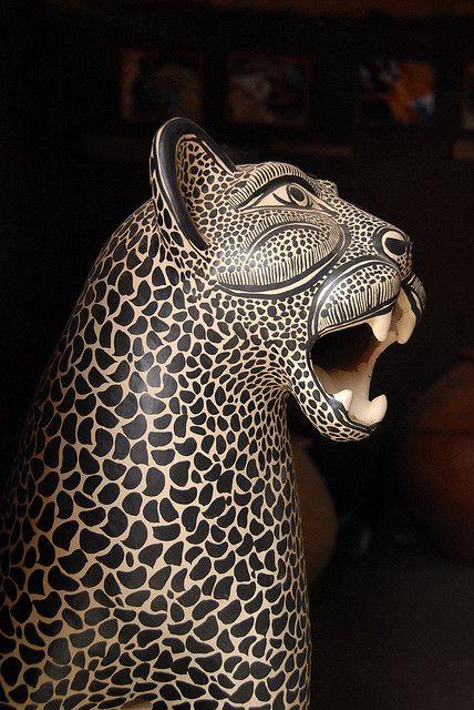 Clay statue of a tigre or jaguar. Madezeltal Maya community of Amatenango del Valle, Chiapas, Mexico. Photo by Karen Elwell