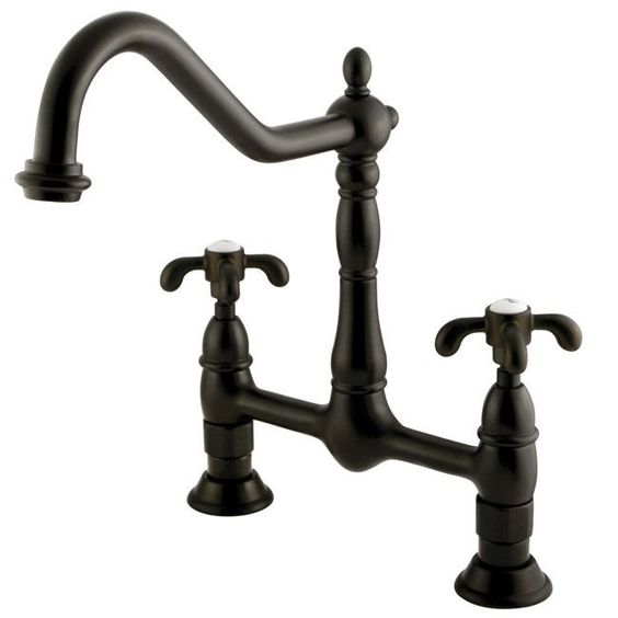 Country Kitchen Taps: French Country Double Handle Centerset Kitchen Faucet