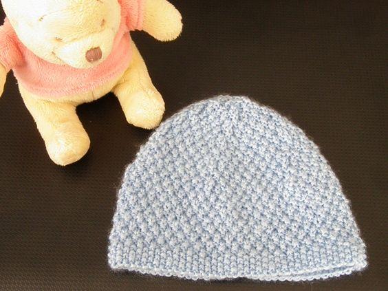Bonnet bebe bl par mes tricots et astuces bonnet - Point de ble au tricot ...