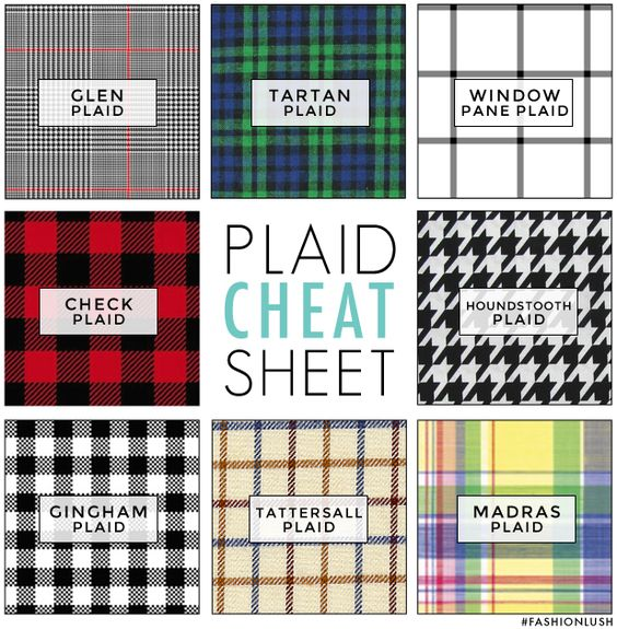 """You know, for when you're trying to describe those curtains to your roommate before you buy them for the living room. -EL fashioninfographics: """" Plaid Cheat Sheet Via """""""
