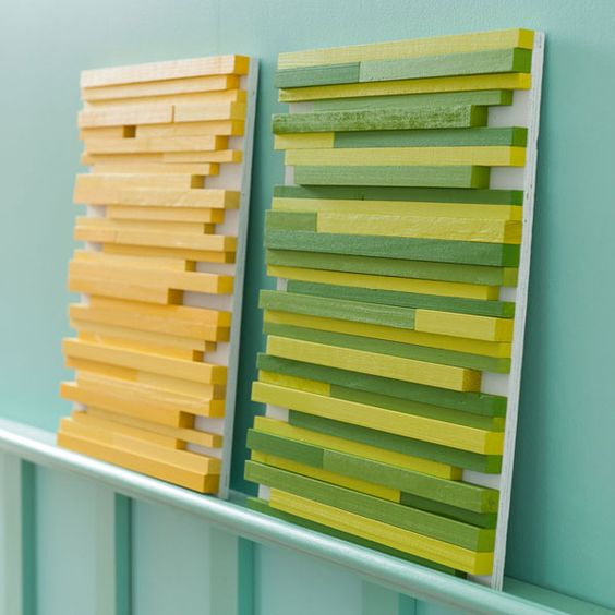 {Square Wooden Dowel Wall Art} Love this simple idea.