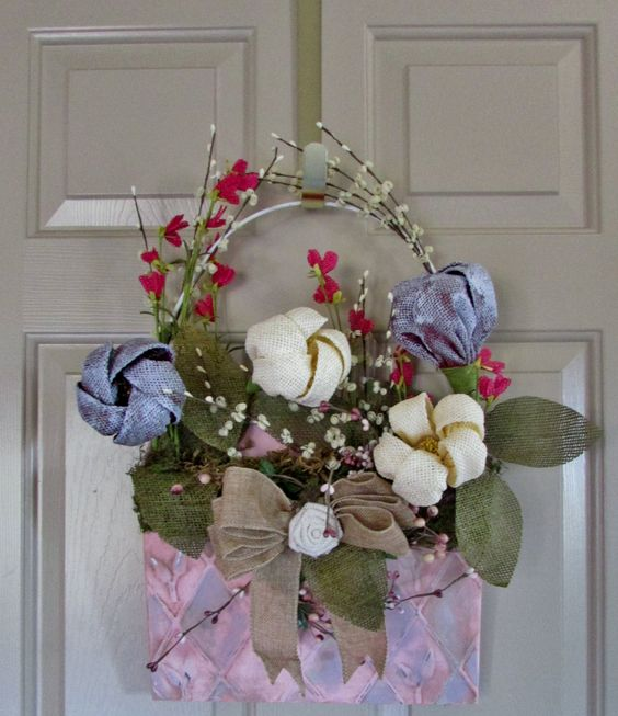 Hand painted wall pocket wreath with burlap flowers and bow.  Perfect for Easter or spring decorating.  Designed to be one of a kind. by RusticQueens on Etsy