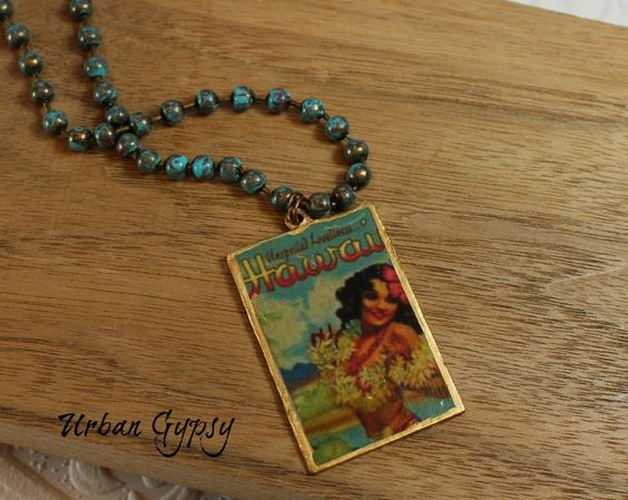 1950s Hawaii Hula Babe Pinup Urban Gypsy Cottage Chic Wanderlust Pendant Necklace by UrbanGypsyIndy on Etsy