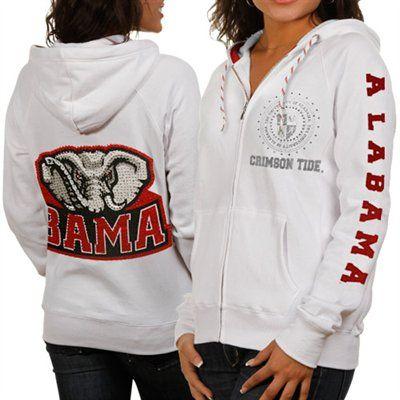 Alabama Crimson Tide Ladies White Glitz & Glamour Full Zip Hoodie Sweatshirt #UltimateTailgate #Fanatics