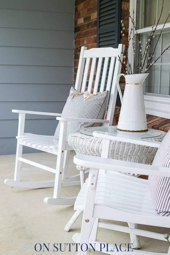 Spring Farmhouse Porch | On Sutton Place {Love the ticking stripe pillows}