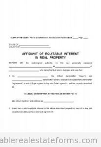 Printable Sample Affidavit Of Equitable Interest Form  Generic