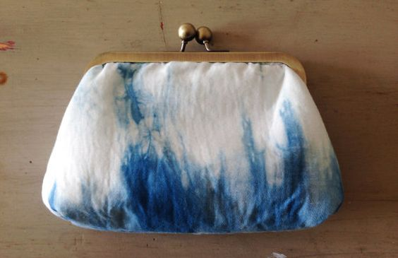 Shibori Purse Clutch Bag Hand Dyed by InTheMakingMade on Etsy