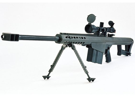"""The Barrett M82A1 is a recoil-operated, semi-automatic anti-materiel rifle. A heavy SASR (Special Application Scoped Rifle). It is also called the """"Light Fifty"""" for its .50 caliber BMG (12.7 × 99 mm) chambering. Features include a carry handle, bipod, monopod, chrome chamber, and M1913 steel optics rail. Includes Leupold Mark 4 4.5-14x50mm scope. 10-round capacity of .50 BMG. 29"""" barrel. 32 lbs. [New in Box] $9499.99"""