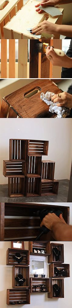 Estanter a con cajas de madera muy ingenioso blog - Estanteria cajas madera ...