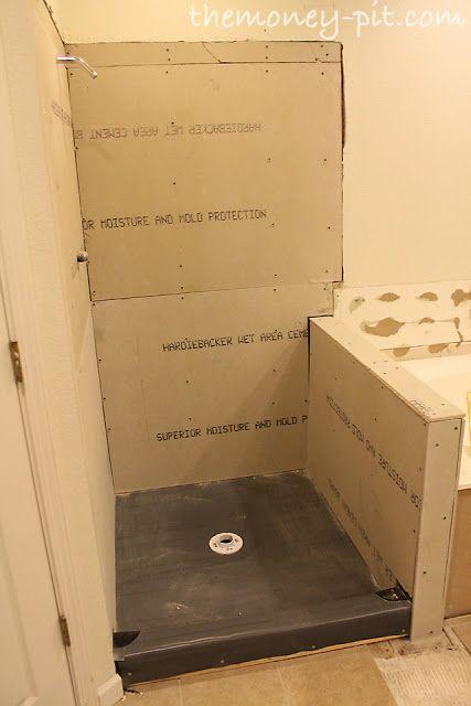 Master bathroom days 8 10 shower walls and final shower for Shower stall remodel