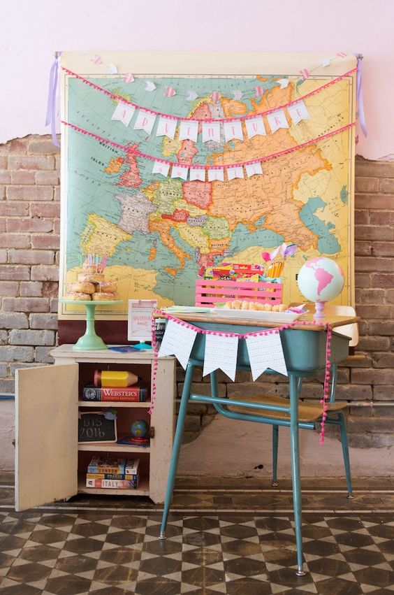 Desk and map from an Adventure Awaits Back to School Party on Kara's Party Ideas   KarasPartyIdeas.com (21)