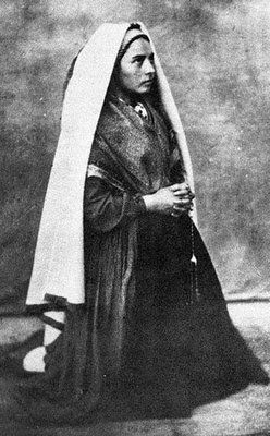 St. Bernadette: Saint Marie-Bernarde Soubirous (7 January 1844 – 16 April 1879) was a miller's daughter born in Lourdes, France and is venerated as a Christian mystic and Saint in the Roman Catholic Church.