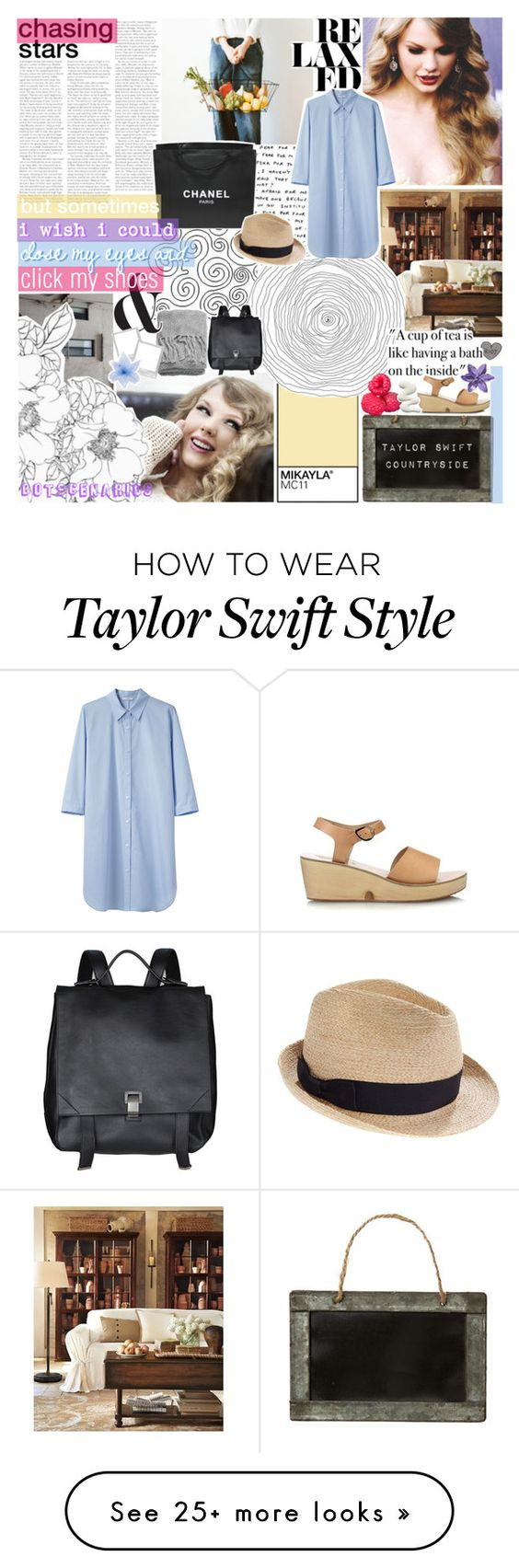 """""""you're still too far. ☆"""" by i-get-lost-sometimes on Polyvore featuring Pottery Barn, Chanel, H&M, Tome, Ancient Greek Sandals, Madewell, Proenza Schouler, Luli, living room and country"""