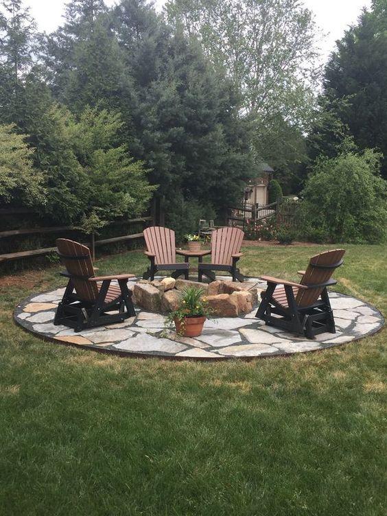 River Bank Fire Pit Backyard Seating Area Backyard Fire Fire Pit Patio