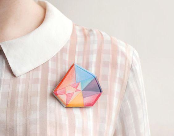 Colourful Brooch Geometric Minimal by PterodactylJewellery on Etsy, £12.00