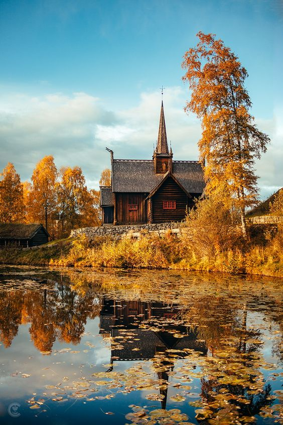 Autumn Glory ~ Reflections ~ Viking church by an autumnal pond, Lillehammer, Norway
